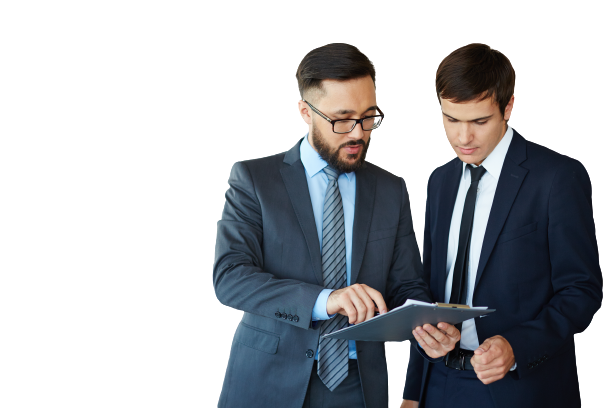 businessman showing cms report to the person